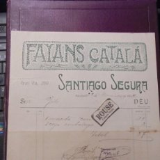 Facturas antiguas: (CAJ.1P) ANTIGUA FACTURA 1902 - FAYANS CATALÁ - SANTIAGO SEGURA C. GRAN VIA 289 - BARCELONA . Lote 195870231