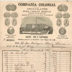 Facturas antiguas: FACTURA COMPAÑÍA COLONIAL FABRICA DE CHOCOLATES TES CAFES MADRID 1874. Lote 59594359