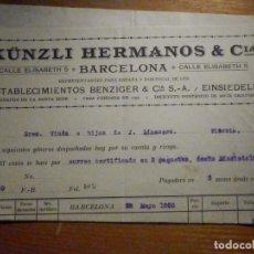 Factures anciennes: FACTURA - KÜNZLI HERMANOS - CALLE ELISABETH, 5 - BARCELONA - AÑO 1920. Lote 196029017