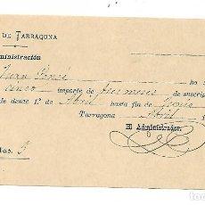Facturas antiguas: TARRAGONA ANYS 1900... - REBUT DIARIO DE TARRAGONA - 1907 - 5 PESETAS LOS 3 MESES. Lote 196112637