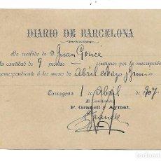 Facturas antiguas: TARRAGONA ANYS 1900... - REBUT DIARIO DE BARCELONA 1907 - 9 PESETAS 3 MESES. Lote 196113727