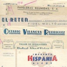 Facturas antiguas: ALCOY (ALICANTE) LOTE 6 FACTURAS DE EMPRESAS DIFERENTES DE ALCOY AÑOS 1942 Y 1943 EN BUEN ESTADO. Lote 196299700