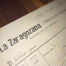 Facturas antiguas: FACTURA 1908. ZARAGOZA CERVEZA LA ZARAGOZANA. 8 LITROS. AMBAR. Lote 196333511