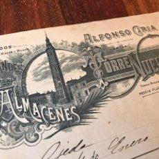 Facturas antiguas: ZARAGOZA. 1901. GRANDES ALMACENES TORRE NUEVA. ZARAGOZA.. Lote 196337537