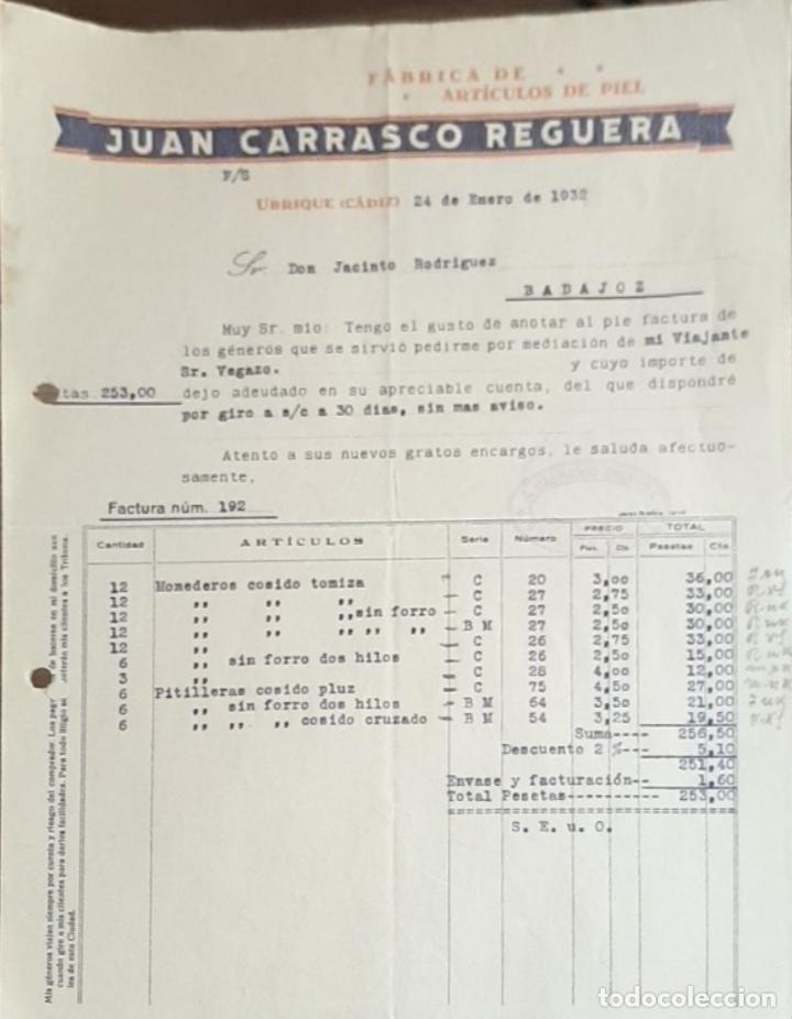 FACTURA. JUAN CARRASCO REGUERA. FÁBRICA DE ARTÍCULOS DE PIEL. UBRIQUE 1932 (Coleccionismo - Documentos - Facturas Antiguas)