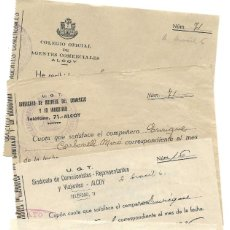 Facturas antiguas: ALCOY LOTE 4 RECIBOS COLEGIO AGENTES COMERCIALES Y UGT SINDICATO VIAJANTES 1936 A 1939 GUERRA CIVIL. Lote 196787593