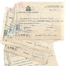 Facturas antiguas: ALCOY (ALICANTE) LOTE 23 RECIBOS COLEGIO OFICIAL DE AGENTES COMERCIALES PAGO CUOTA AÑOS 1942 A 1944. Lote 196788835
