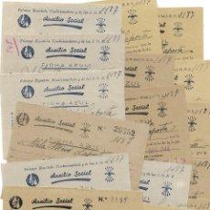 Facturas antiguas: ALCOY (ALICANTE) LOTE 45 RECIBOS AUXILIO SOCIAL FICHA AZUL AÑOS 1943, 1944 Y 1945. Lote 196924573
