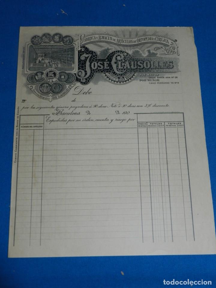 (M2) FACTURA MEMBRETE - BARCELONA 1900 FABRICA DE ARTICULOS DE ORTOPEDIA Y CIRUJIA JOSE CLAUSOLLES (Coleccionismo - Documentos - Facturas Antiguas)