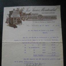 Faturas antigas: FACTURA DE SAN SEBASTIAN TALLER ALBAÑILERIA PINTURAS JOSE JAVIER MENDIZABAL A MADRID 1920. Lote 197038771