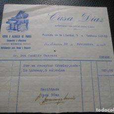 Fatture antiche: FACTURA DE SAN SEBASTIAN VENTA Y ALQUILER DE PIANOS MUSICA CASA DIAZ 1933. Lote 197041135