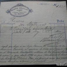 Faturas antigas: FACTURA DE SAN SEBASTIAN JOYERIA RAMON AGUILAR 1928. Lote 197041638