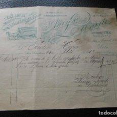 Faturas antigas: FACTURA DE SAN SEBASTIAN TRANSPORTES MUEBLES ASCENSIO LASARTE 1919. Lote 197328091