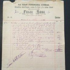 Facturas antiguas: (M2) FACTURA MEMBRETE BARCELONA 1891 GRAN FUNERARIA CONDAL, ATAUDES, SARRÓFAGOS, URNAS - FELIX BORI . Lote 197518613