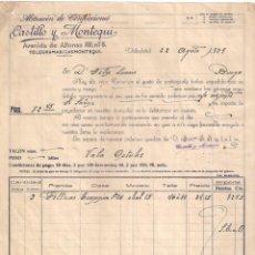 Fatture antiche: FACTURA. ALMACÉN DE CONFECCIONES CASTILLO Y MONTEQUI. VALLADOLID- BURGOS. AÑO 1929. Lote 197569232