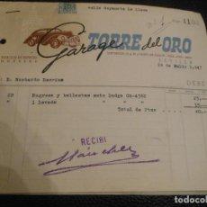 Facturas antiguas: FACTURA DE SEVILLA GARAGE TORRE DEL ORO CHOCHES DODGE 1947. Lote 197585812
