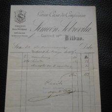 Facturas antiguas: FACTURA DE BILBAO CASA DE CONFECCION TEGIDOS SIMEON SOBREVILA1895. Lote 197730451