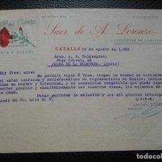 Fatture antiche: FACTURA DE CAZALLA SEVILLA ANIS DEL CLAVEL SECO Y DULCE DE A. LORENZO FABRICANTE 1949 A JEREZ. Lote 197732821