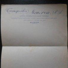 Facturas antiguas: FACTURA DE MAHON MENORCA TRANSPORTES SERVICIOS MERCANCIAS CIUDADELA VIAJES . Lote 197776118