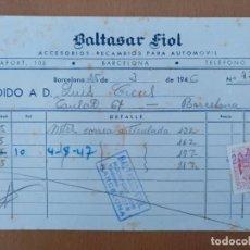 Facturas antiguas: FACTURA RECAMBIOS AUTOMOVIL BALTASAR FIOL BARCELONA 1946. Lote 197939871