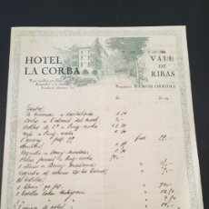 Faturas antigas: (M2) FACTURA MEMBRETE - VALL DE RIBAS 190? HOTEL LA CORBA , RAMON ORRIOLS. Lote 198153051