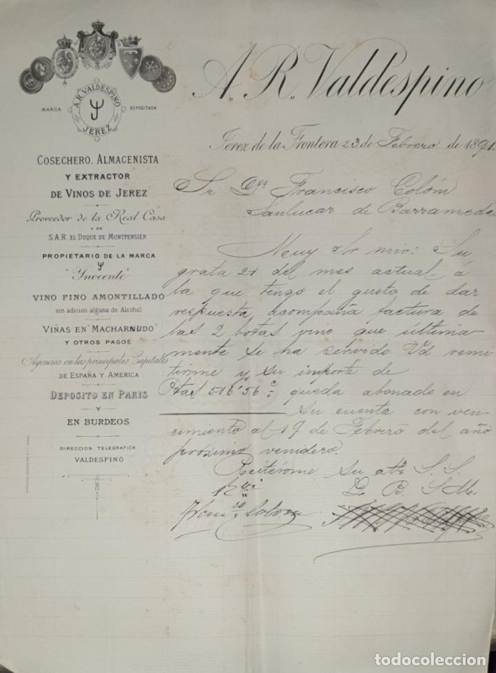 FACTURA. A.R. VALDESPINO. COSECHERO, ALMACENISTA Y EXTRACTOR DE VINOS DE JEREZ. JEREZ 1891 (Coleccionismo - Documentos - Facturas Antiguas)