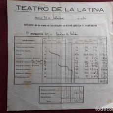 Faturas antigas: TEATRO DE LA LATINA. MADRID 1930. Lote 198319681