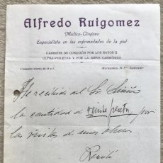 Facturas antiguas: RECIBO CONSULTA DE ALFREDO RUIGOMEZ - MÉDICO - CIRUJANO - SANTANDER (ATARAZANAS, 10) - AÑO 1914. Lote 198460385