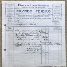 Facturas antiguas: FACTURA DE RICARDO TEJEIRO - FÁBRICA DE LUNAS PLATEADA (PLAZA DE LAS ESCUELAS) - SANTANDER, 1914. Lote 198461712