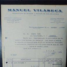 Facturas antiguas: STA. COLOMA DE GRAMANET, BARCELONA, MANUEL VILASECA, PRODUCTOS QUÍMICOS.. Lote 198468618