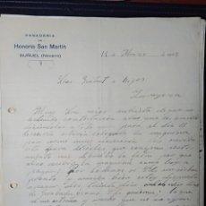 Facturas antiguas: BUÑUEL, NAVARRA, PANADERÍA HONORIO DAN MARTÍN 1922. Lote 198474416