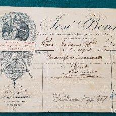Factures anciennes: FACTURA CONSTRUCTOR DE MAQUINAS DE VAPOR JOSE BONS (1903) BARCELONA. Lote 198535198