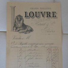 Facturas antiguas: FACTURA DE PARIS FRANCIA GRANDES ALMACENES DEL LOUVRE HERIOT 1886 LEON. Lote 198791828