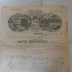 Facturas antiguas: FACTURA DE BELFAST IRLANDA JAFFE BROTHERS A MADRID 1922 FABRICA. Lote 198792173