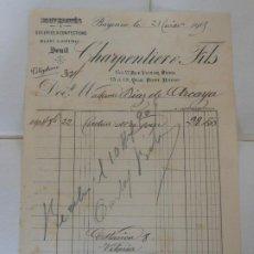 Facturas antiguas: FACTURA DE BAYONNE FRANCIA CHARPENTIER FILS CONFECCIONES A DIAZ DE ARCAYA1909. Lote 198792482