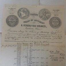 Facturas antiguas: FACTURA DE COURTRAI BELGICA FABRICA TOILES ET MOUCHOIRS A MADRID 1905. Lote 198792923