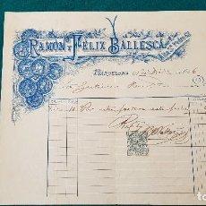 Facturas antiguas: FACTURA RAMON Y FELIX BALLESCA (1896) BARCELONA. Lote 198793346