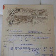 Facturas antiguas: FACTURA DE LEIPZIG ALEMANIA GERMANY CURT GEORGI FABRICA A VAPOR A MADRID 1914. Lote 198801191