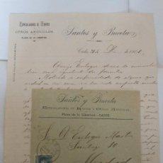 Facturas antiguas: FACTURA DE CADIZ 1901 ESPECULADORES DE HUEVOS SANTOS Y BUCETA - CARTA Y SOBRE A MADRID. Lote 198801477