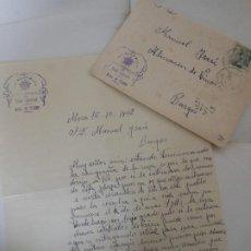 Facturas antiguas: FACTURA DE MORA TOLEDO LA ESTRELLA BOTERIA DE PABLO CONTRERAS - CARTA Y SOBRE 1942 A BURGOS VINOS. Lote 198801593