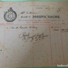 Facturas antiguas: FACTURA DE GILBRALTAR INGLATERRA LONDON - JOSEPH GACHE RELOJERIA 1903. Lote 198801976