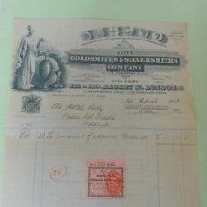 Facturas antiguas: FACTURA DE LONDRES INGLATERRA UK AL HOTEL RITZ DE MADRID - GOLDSMITHS & SILVERSIMITHS VIÑETA 1913. Lote 198802542