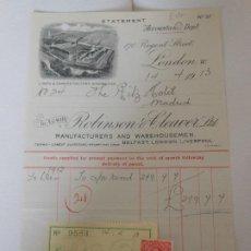 Facturas antiguas: FACTURA DE LONDRES INGLATERRA UK AL HOTEL RITZ DE MADRID FABRICA ROBINSON CLEAVER VIÑETA SELLO 1913. Lote 198802636