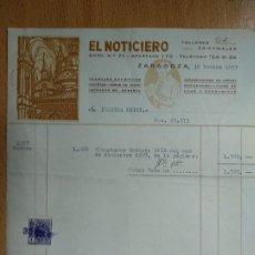 Facturas antiguas: FACTURA, EL NOTICIERO, ZARAGOZA. 1957.. Lote 198832032