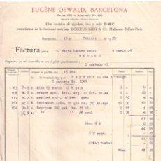 Facturas antiguas: ANTIGUA FACTURA. HILOS TORCIDOS DE ALGODÓN. EUGENE OSWALD. BARCELONA- BURGOS. AÑO 1925. Lote 199077450