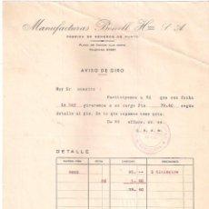 Facturas antiguas: FACTURA ANTIGUA . FABRICA DE GÉNEROS DE PUNTO. MANUFACTURAS BONELL. BARCELONA-BURGOS.. Lote 199077733