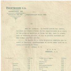 Facturas antiguas: FACTURA DE TEJIDOS . BERTRAND C.A. BARCELONA-BURGOS. AÑO 1930. Lote 199077960