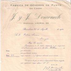 Fatture antiche: FACTURA. FÁBRICA DE GÉNEROS DE PUNTO EN CHERT. F. Y F. DOMENECH. BARCELONA- BURGOS. AÑO 1926. Lote 199078997