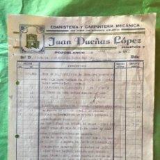 Facturas antiguas: ANTIGUA FACTURA JUAN DUEÑAS LOPEZ, EBANISTERIA Y CARPINTERIA, POZOBLANCO, CORDOBA - 1935, REPUBLICA. Lote 199327718