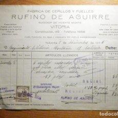 Facturas antiguas: FACTURA RUFINO DE AGUIRRE - DROGUERÍA PERFUMERÍA, SEMILLAS - CONSTITUCIÓN, 45 VITORIA - AÑO 1936. Lote 199524256